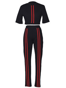 Ericdress T-Shirt and Pants Stripe Simple Women's Two Piece Set