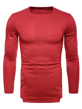 Ericdress Plain Straight Long Sleeve Scoop Mens Casual T Shirts