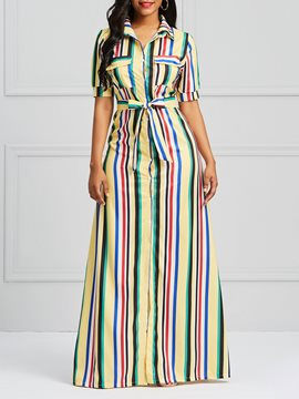 Ericdress Stripe Single-Breasted Women's Dress