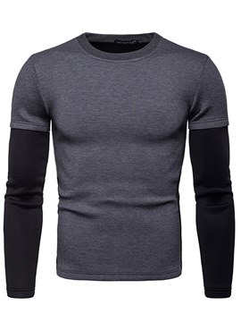 Ericdress Color Block Patchwork Pullover Mens Casual Sweatshirts