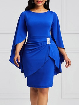 Ericdress Bodycon Slash Neck Flare Sleeve Women's Dress