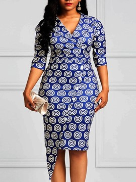 ericdress geometrisches print bodycon knielanges Damenkleid