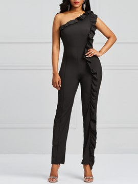 Ericdress Oblique Shoulder Stringy Selvedge Asymmetric Women's Jumpsuits