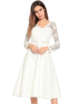 Ericdress Lace Hollow A-Line V-Neck Mid-Calf Regular Elegant Dress