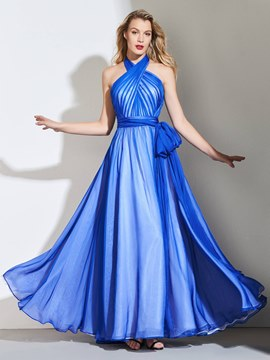 Ericdress A Line Halter Pleats Backless Long Prom Dress