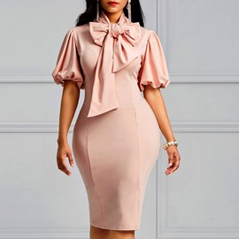 Ericdress Bodycon Lantern Sleeve Bowknot Women's Dress
