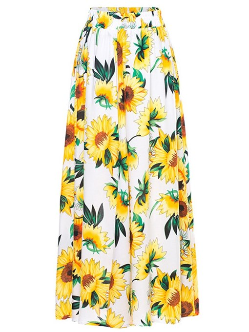 Ericdress Floral Pleated Elastic Waist Women's Skirts