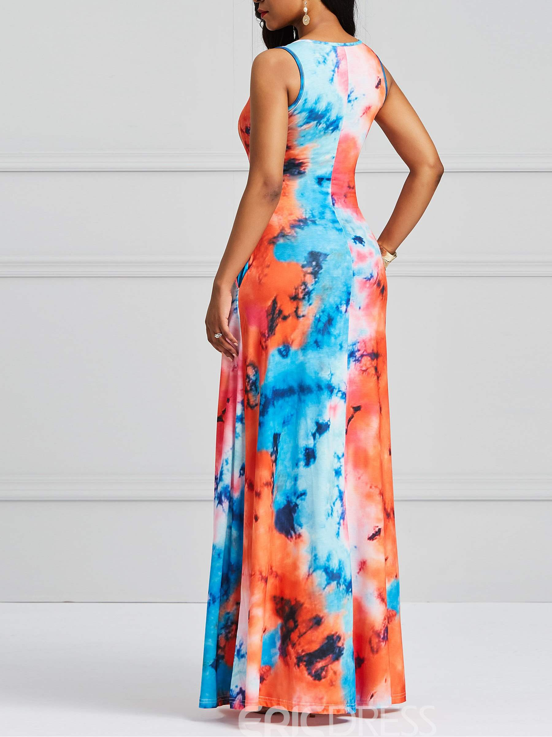 Ericdress Sleeveless Tie-Dye Women's Dress