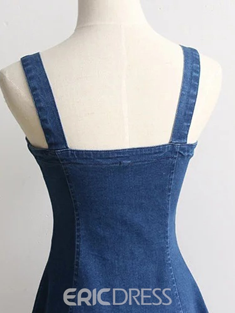 Ericdress A-Line Single-Breasted Denim Women's Dress