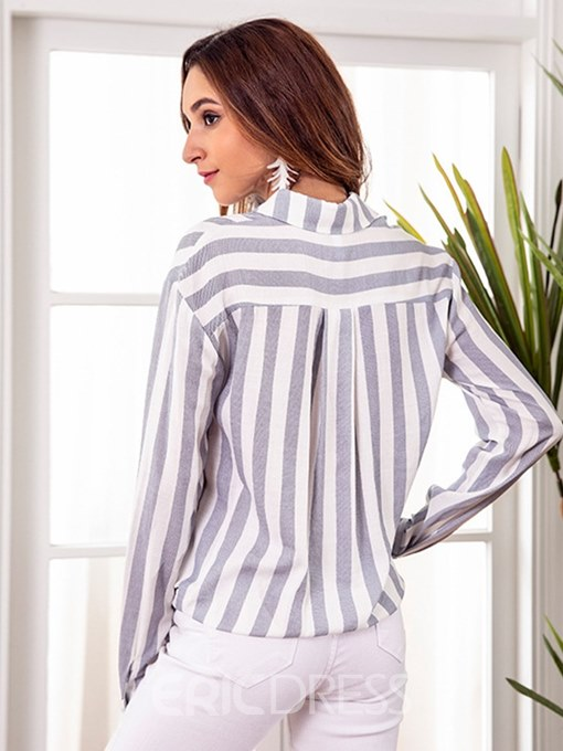 Ericdress Stripe Print Bowknot Long Sleeve Blouse