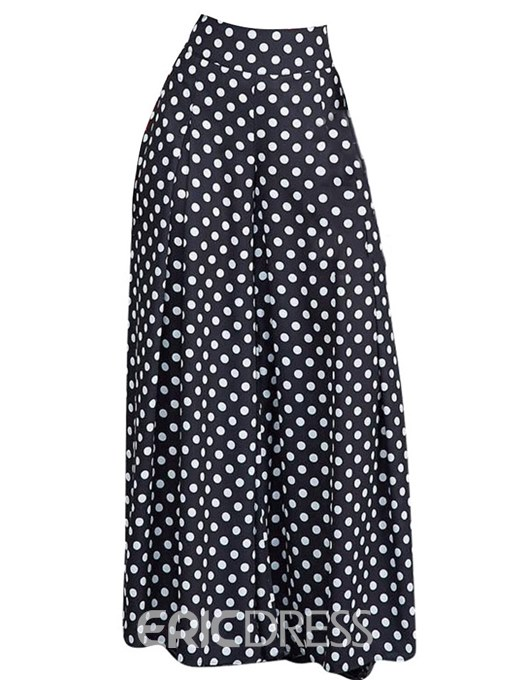 Ericdress Polka Dots Print Wide Legs Women's Pants