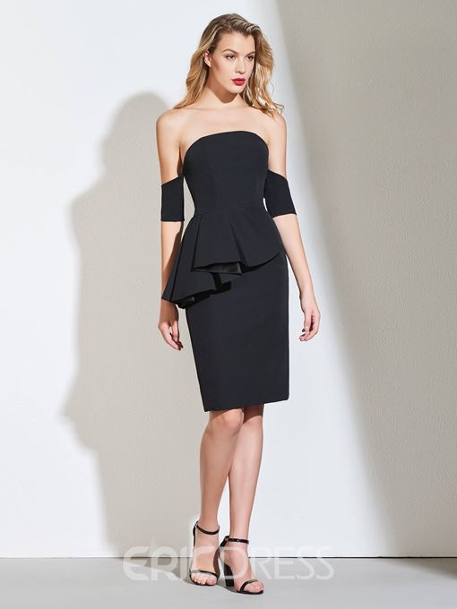 Ericdress Sheath Off The Shoulder Black Bodycon Homecoming Dress