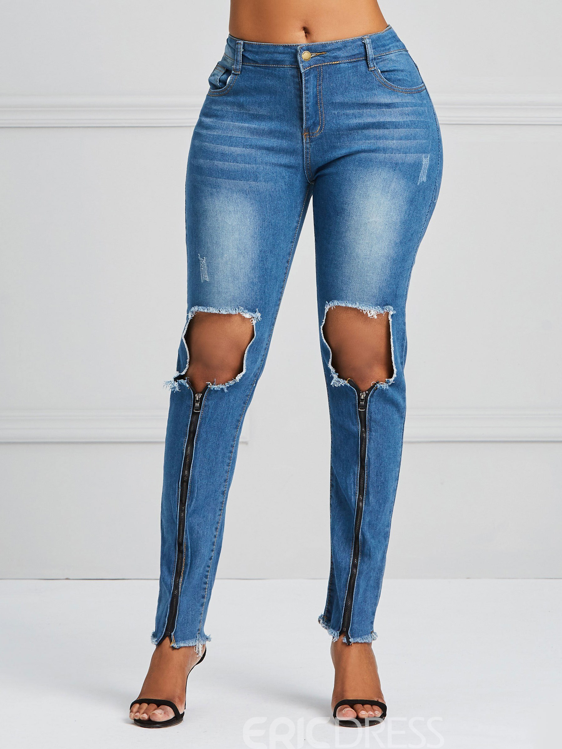 Ericdress Hole Zipper Skinny Women's Jeans