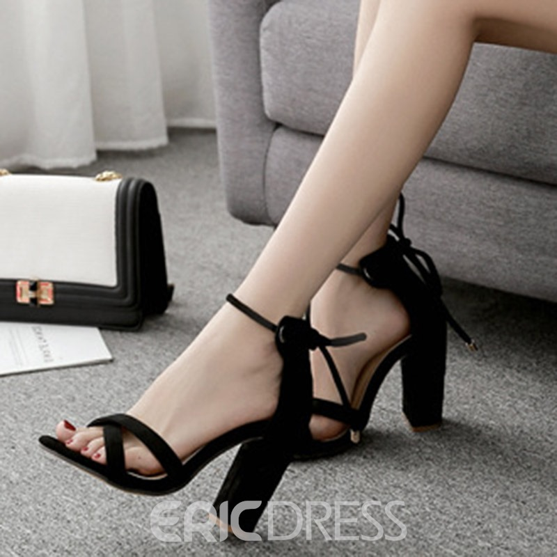 Ericdress Fashion Suede Plain Lace-Up Chunky Sandals