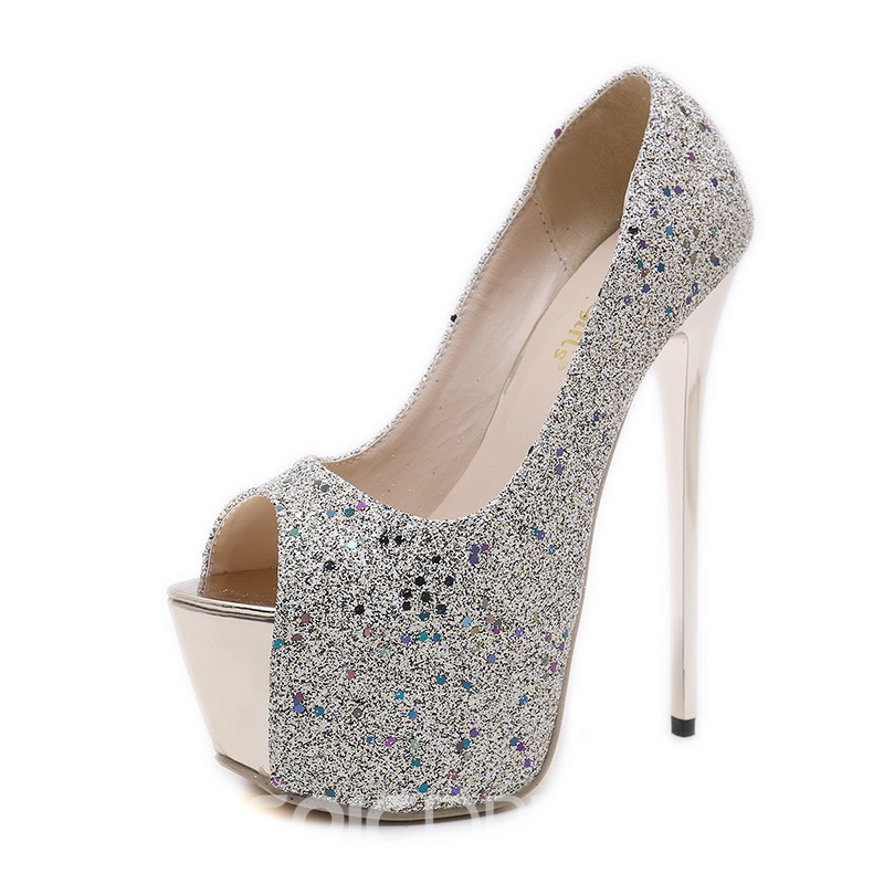 Ericdress Banquet Sequin Platform Slip-On Peep Toe Pumps