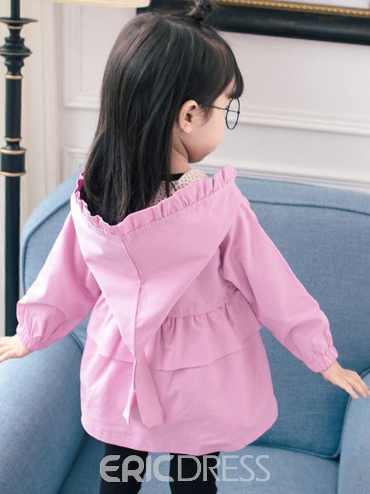 Ericdress Plain Ruffles Button Hooded Baby Girl's Casual Trench Coats