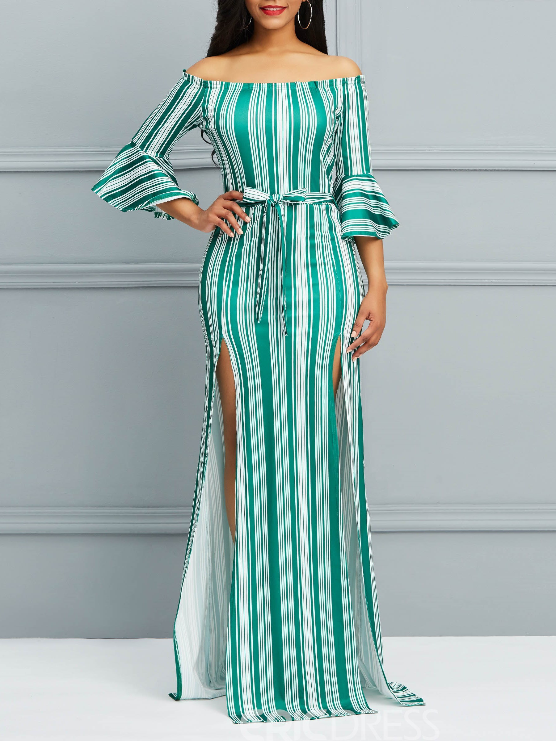 Ericdress Bodycon Floor-Length Stripe Women's Dress