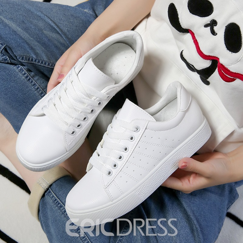 Ericdress White Lace-Up Platform Round Toe Women's Sneakers