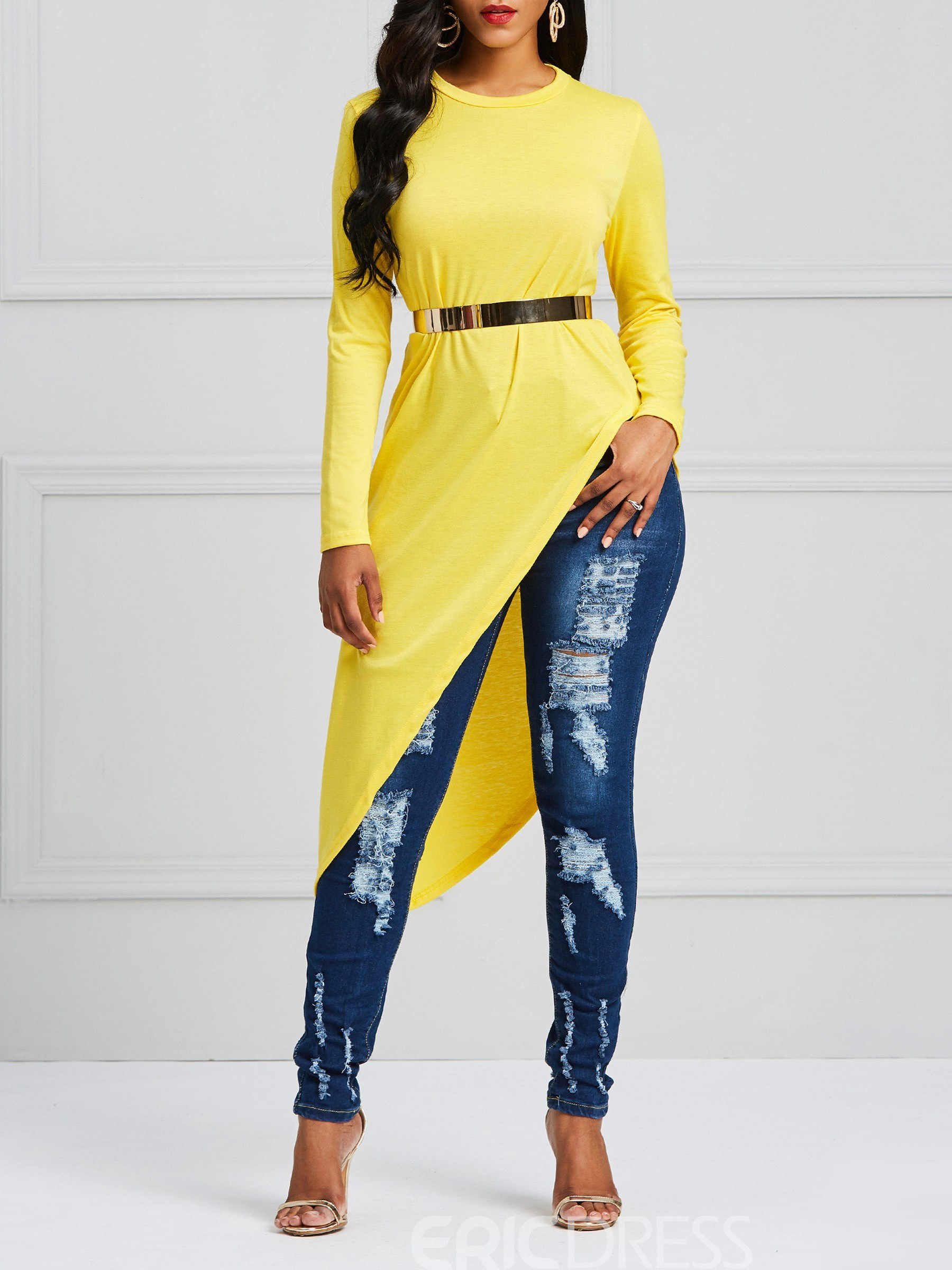 Ericdress Loose Asymmetric Plain Long Sleeve T-shirt