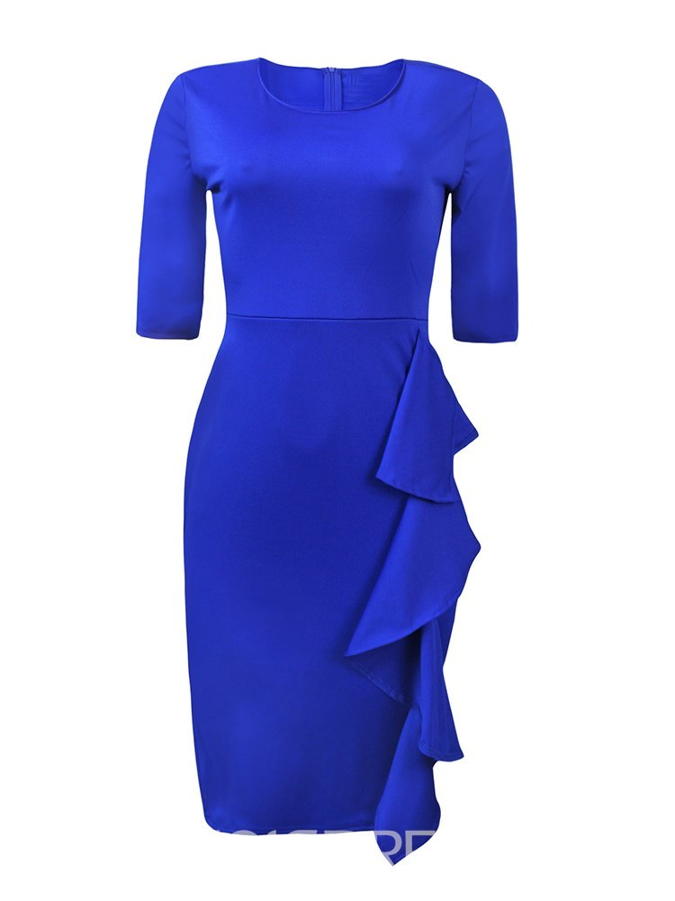 Ericdress Ruffles Plain Women's Dress