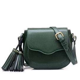 Fashion Plain Tassel Women Saddle Bag