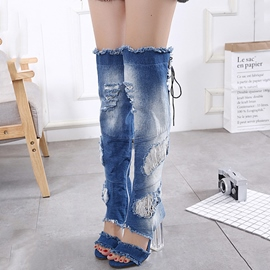 Ericdress Fashion Denim Chunky Heel Knee High Boots