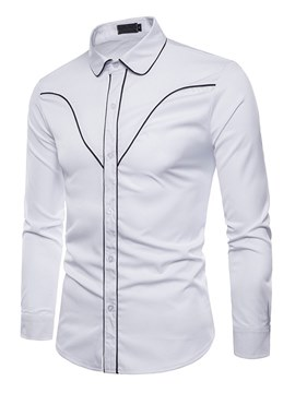 Ericdress Plain Striped Slim Button Up Mens Casual Dress Shirts