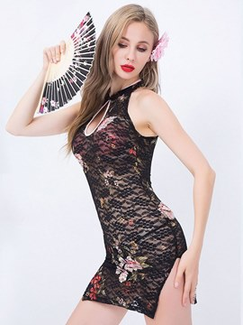 Ericdress Floral See-Through Sexy Cheongsam Costume