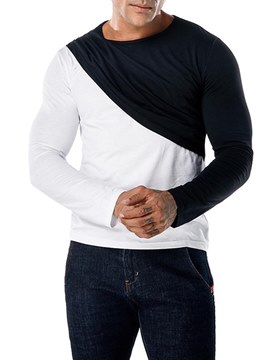 Ericdress Color Block Scoop Long Sleeve Mens Casual T Shirts