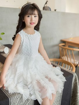 Ericdress Mesh Plain Sleeveless Girl's Ball Gown Princess Dress