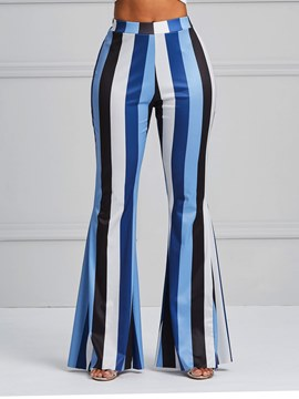 ericdress stripe block block bellbottoms pantalones de mujer