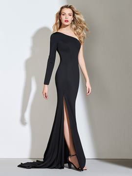 Ericdress Sheath One Shoulder Black Mermaid Evening Dress