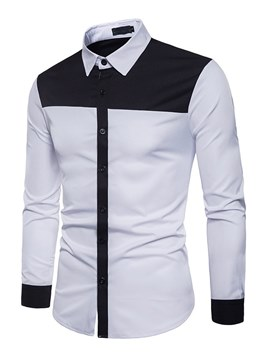 Ericdress Patchwork Slim Lapel Mens Casual Shirts