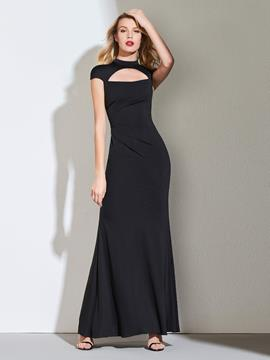Ericdress Mock Neck Cap Sleeve Black Vintage Evening Dress