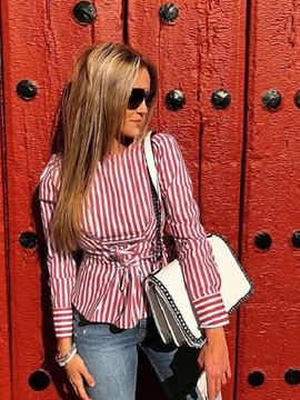 Ericdress Tie Front Scoop Stripe Blouse