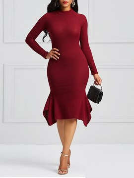 Ericdress Mid-Calf Bodycon Plain Women's Dress