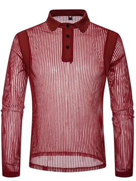 Ericdress Striped See Trough Plain Mens Sexy Polo Shirts