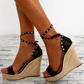 Ericdress Rivet Platform Wedge Heel Espadrille Sandals