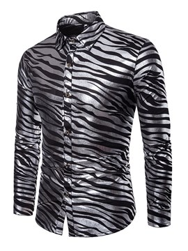 Ericdress Zebra Striped Lapel Slim Mens Casual Ball Shirts