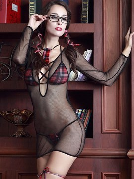 Ericdress Plaid See-Through Skinny Schoolgirl Costume