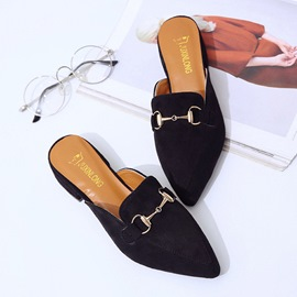 Ericdress Black Slip-On Pointed Toe Mules