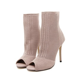 Ericdress Mesh Hollow Peep Toe Stiletto Heel Fashion Boots
