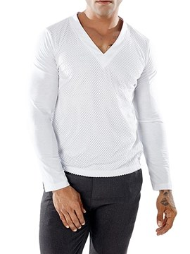 Ericdress V-Neck Plain Long Sleeve Mens Casual T Shirts
