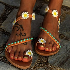 Ericdress Appliques Floral Slip-OnToe Ring Flat Sandals