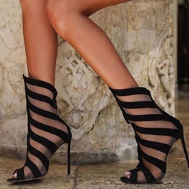 Ericdress Mesh Sexy High Shaft Peep Toe Stiletto Sandals