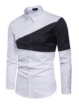 Ericdress Color Block Slim Lapel Mens Casual Shirts
