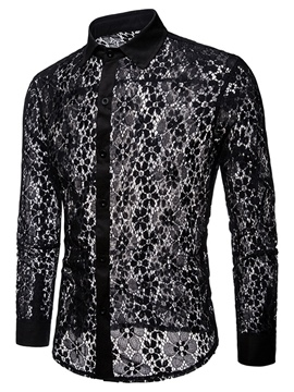 Ericdress Lace Hollow See Trough Slim Mens Lapel Sexy Shirts