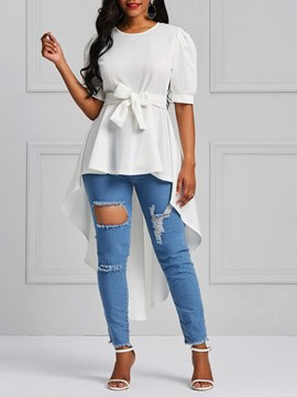 Ericdress Scoop Patchwork Tie Front Ruffles Short Sleeve T-shirt