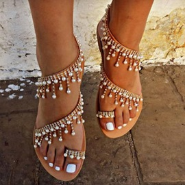 Ericdress Rhinestone Beads Toe Ring Flat Sandals