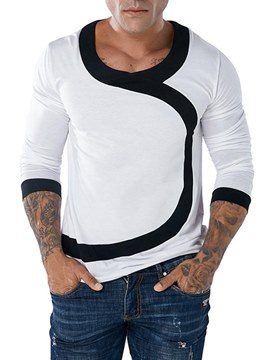 Ericdress Color Block Long Sleeve Scoop Mens Casual T Shirts